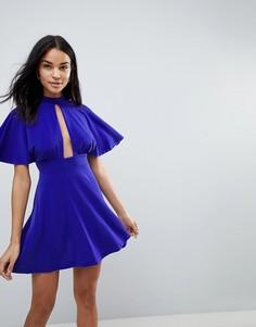Короткое приталенное платье с чокером Love - Синий