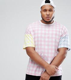 Оверсайз-футболка в клетку ASOS PLUS - Розовый