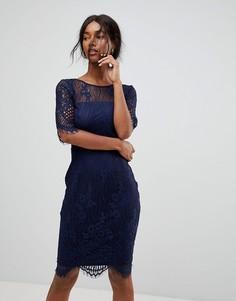 Кружевное цельнокройное платье Sugarhill Boutique - Темно-синий