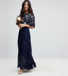 Платье макси с рукавами клеш и цветочной отделкой ASOS PETITE Wedding - Темно-синий