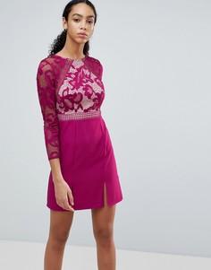 Короткое приталенное платье с кружевным лифом и длинными рукавами Little Mistress - Розовый