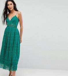 Кружевное платье миди для выпускного ASOS TALL - Зеленый