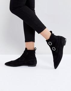 Замшевые остроносые ботинки с пряжкой AllSaints - Черный