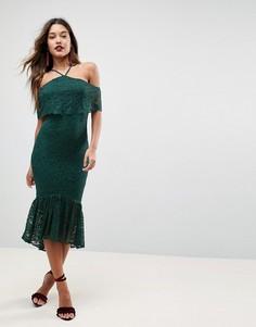 Кружевное платье-бандо миди с оборкой по нижнему краю ASOS - Зеленый