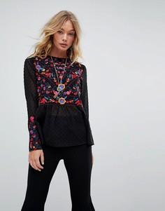 Блузка с вышивкой и баской Rd & Koko - Черный