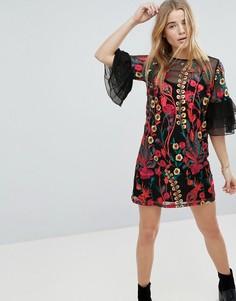 Платье А-силуэта с вышивкой и оборками на рукавах Rd & Koko - Черный