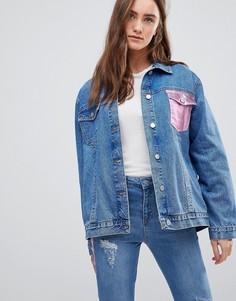 Джинсовая куртка оверсайз с карманом металлик Chorus - Синий