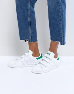 Белые с зеленым кроссовки на липучках adidas Originals Stan Smith - Белый