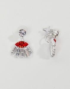 Серьги с кристаллами Swarovski Krystal London Fatima - Красный