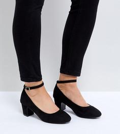 Туфли-лодочки для широкой стопы на низком блочном каблуке New Look - Черный