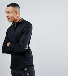 Белая приталенная рубашка с вышивкой на воротнике ASOS TALL - Черный