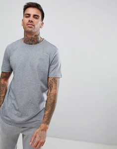 Серая меланжевая футболка с круглым вырезом и логотипом HUGO - Серый