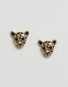 Серьги-гвоздики в форме тигра со стразами Monki - Золотой