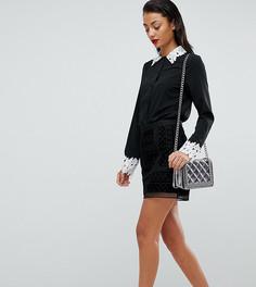Рубашка с ажурными манжетами и воротником Fashion Union Tall - Черный