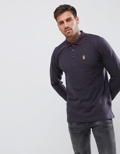 Темно-синяя футболка-поло с длинными рукавами Luke Sport Longmead - Серый