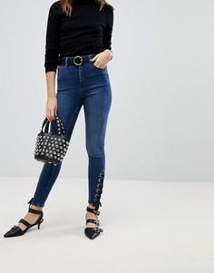Синие джинсы скинни с завышенной талией и шнуровкой ASOS RIDLEY - Синий