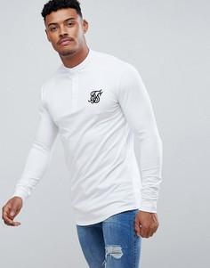 Белая обтягивающая футболка-поло SikSilk - Белый
