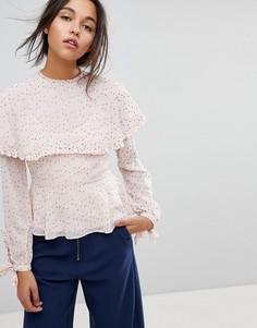 Блузка в горошек с оборками Max&Co - Розовый