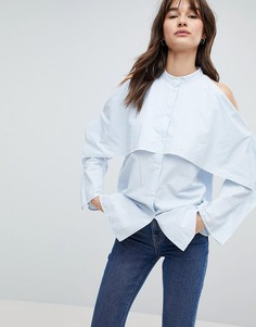 Рубашка с высоким воротом Weekday - Синий
