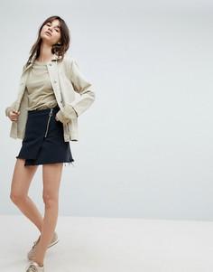 Мини-юбка с необработанным краем и асимметричной молнией Weekday - Черный