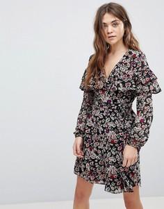 Платье с запахом и цветочным принтом New Look - Черный