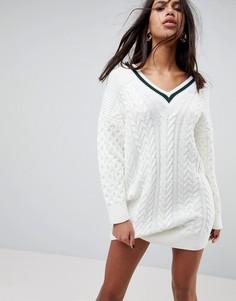 Оверсайз-платье крупной вязки с отделкой ASOS - Кремовый