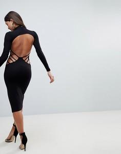 Облегающее платье миди с бретельками и открытой спиной ASOS - Черный