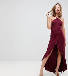 Платье макси с оборками и высоким разрезом ASOS PETITE - Красный