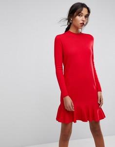 Трикотажное платье с заниженной талией Y.A.S - Красный