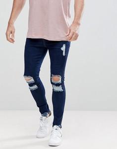 Рваные обтягивающие джинсы SikSilk - Синий