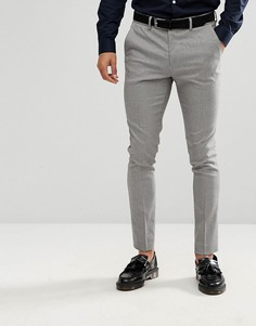 Серые брюки скинни в ломаную клетку New Look - Черный