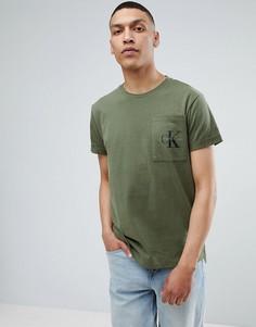 Футболка с карманом и логотипом Calvin Klein Jeans - Зеленый