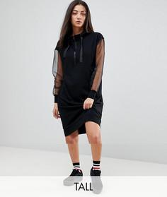 Платье-худи с полупрозрачными рукавами Noisy May Tall - Черный