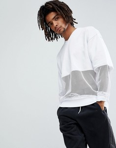 ASOS Oversized V Neck Sweatshirt With Mesh Panelling - Белый