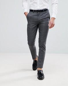 Серые зауженные брюки в клетку River Island - Серый
