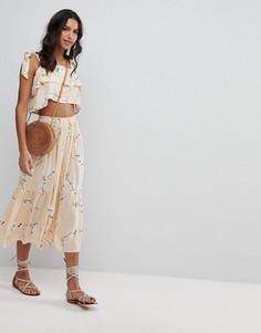 Комбинируемая юбка миди с цветочным принтом Faithfull - Желтый