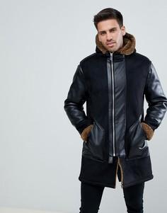 Черное пальто из искусственной замши с подкладкой из искусственного меха River Island - Черный