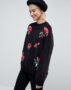 Свитшот с вышивкой роз Pimkie - Черный