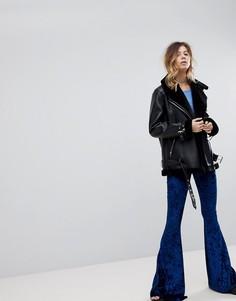 Бархатные расклешенные брюки скинни Rokoko - Темно-синий