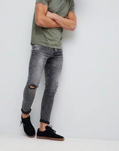 Эластичные джинсы скинни с необработанными краями Only & Sons - Черный