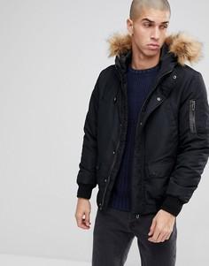 Дутая куртка со съемной отделкой из искусственного меха на капюшоне Only & Sons - Черный