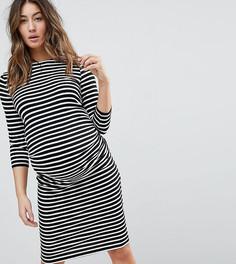 Платье в полоску с рукавами длиной 3/4 New Look Maternity - Черный