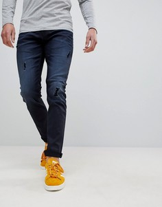 Узкие джинсы с покрытием и рваной отделкой Only & Sons - Темно-синий