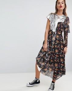 Чайное платье миди с цветочным принтом и пайетками ASOS - Мульти