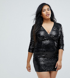 Декорированное пайетками платье с запахом и рукавами 3/4 Club L Plus - Черный