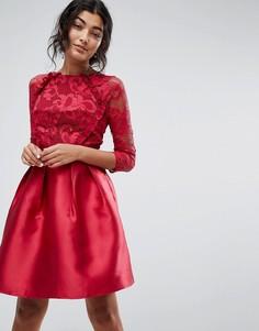 Атласное короткое приталенное платье с рукавами 3/4 и кружевом Little Mistress - Фиолетовый