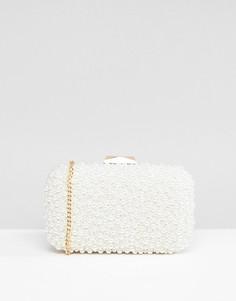 Клатч-футляр с бусинами из искусственного жемчуга True Decadence - Белый