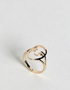 Кольцо ограниченной серии с отделкой - Золотой Asos