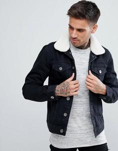 Черная джинсовая куртка с воротником борг River Island - Черный
