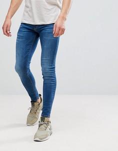 Выбеленные синие супероблегающие джинсы River Island - Синий